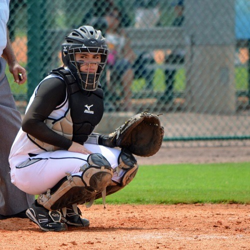 Female Softball Catcher on Field