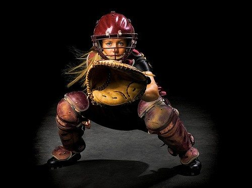 Artistic  Shot of Female Softball Catcher